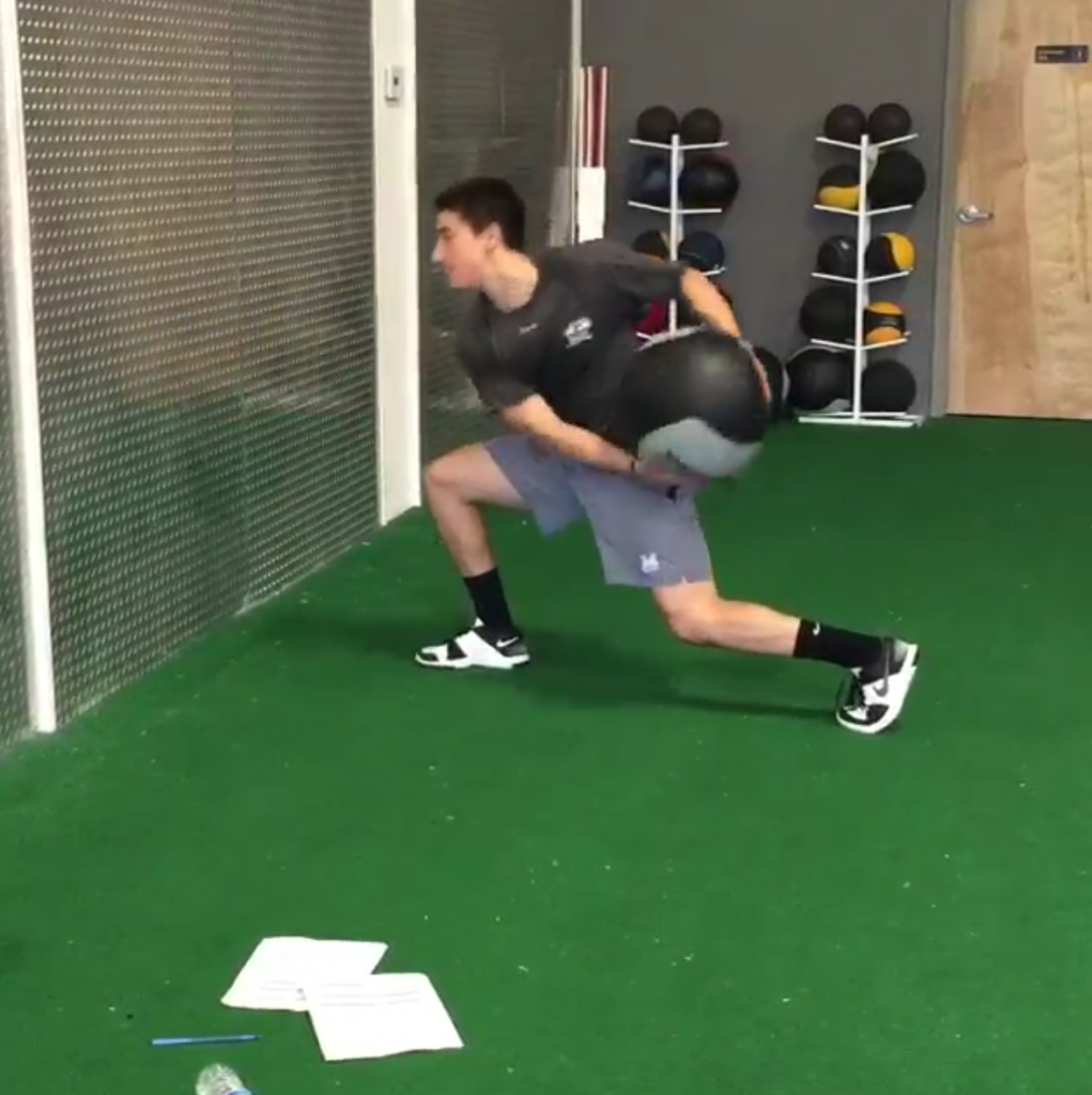 Core Training-Split Stance Med Ball Scoop