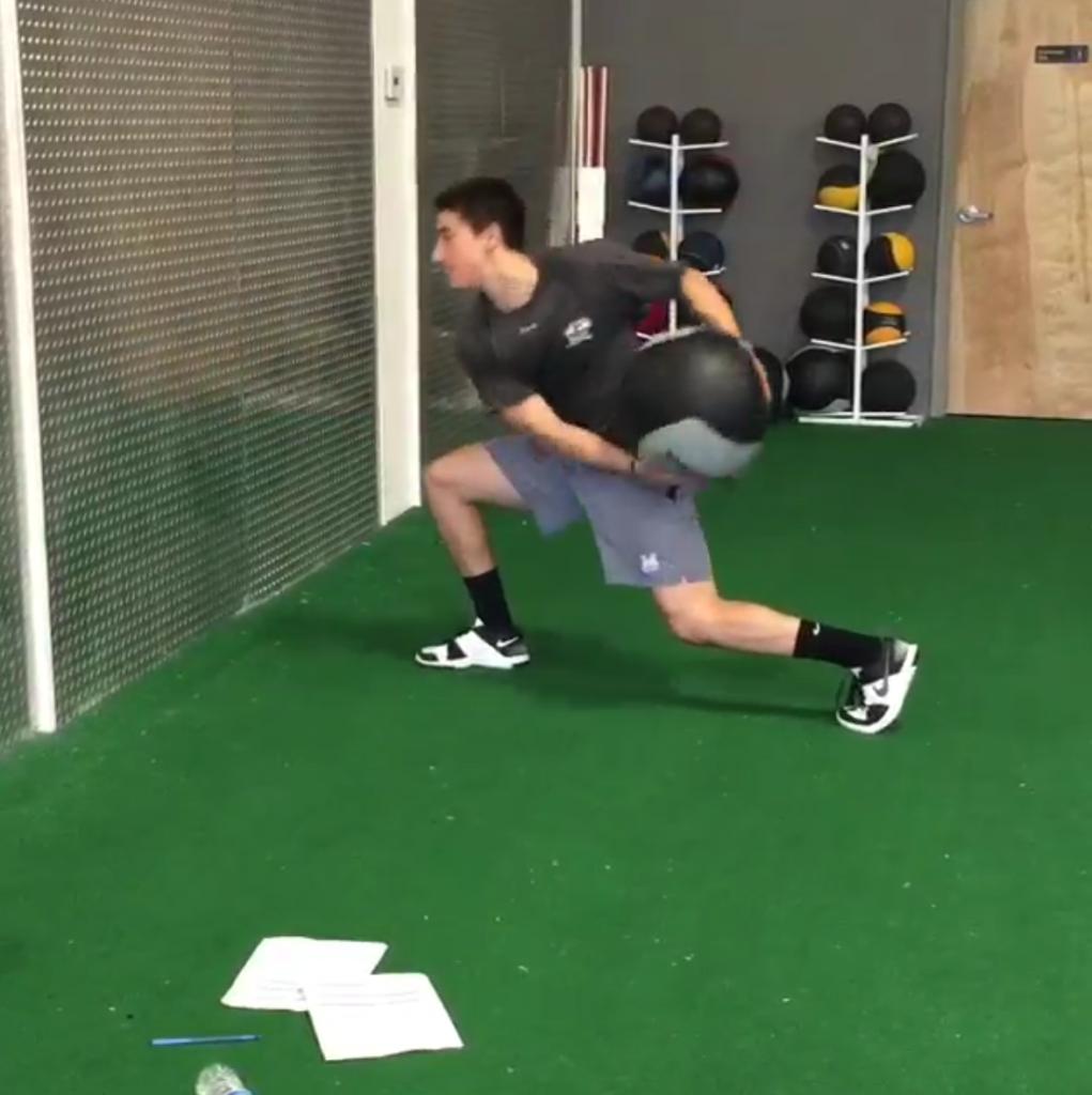 Core Training-Split Stance Med Ball Scoop